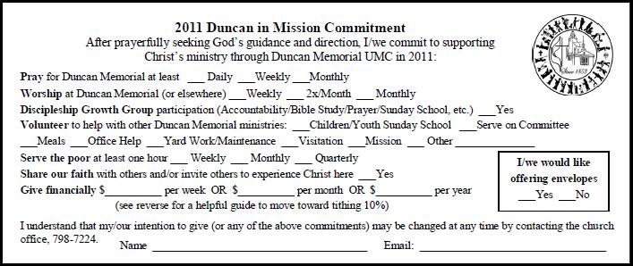 Pledge Card Examples Trinity