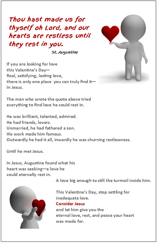 A Free Valentines Day Flyer Or Bulletin Insert To Remind