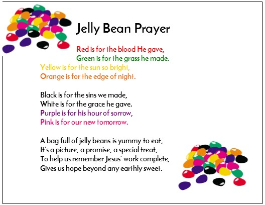photograph relating to Jelly Bean Prayer Printable called Cost-free Easter Jelly Bean Prayer for Childrens Ministry