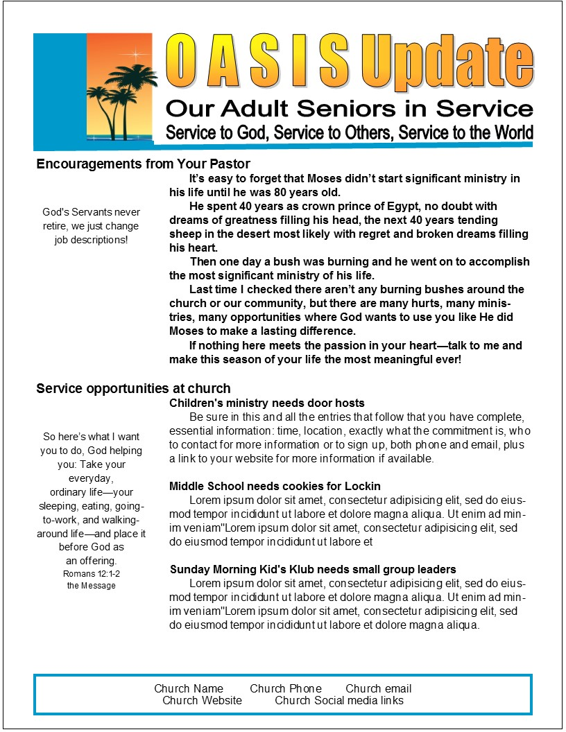 Easy, 2-Page Senior Newsletter Template in MS Publisher | Effective ...