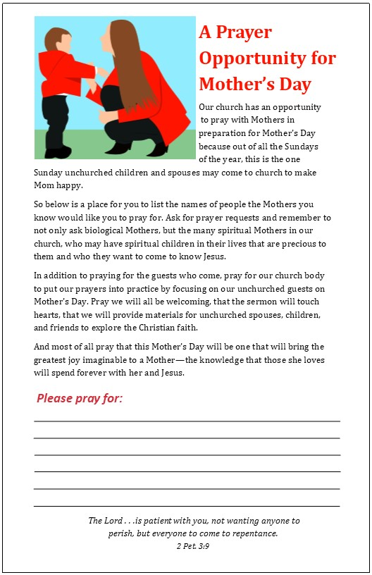 An opportunity to pray for unchurched family members for
