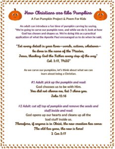 Pumpkin Carving and faith building project